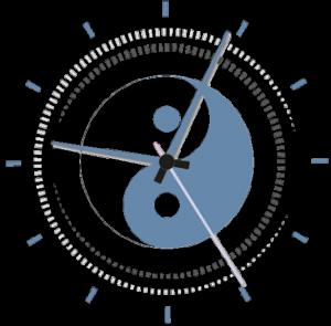 Yin Yang Clock Blue